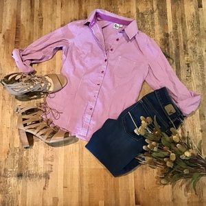 SO purple gingham/checkered button down top